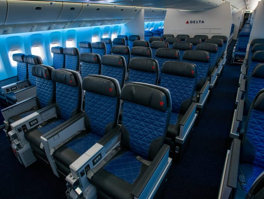 Delta's refreshed 777 aircraft features 58 seats in