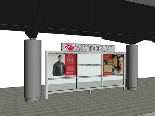 A proposed change for advertisement signage on the PATCO Hi-Speedline train platform at the Woodcrest Station in Cherry Hill.