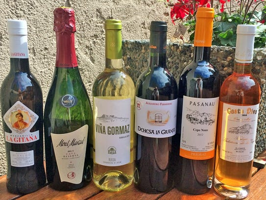 The six Spanish wines that will be served at the Coronado