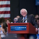 Democratic presidential candidate Bernie Sanders, I-Vt., speaks Monday during a rally in Evansville, Ind.