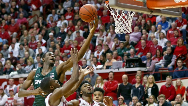 Michigan State's Jaren Jackson Jr. drives and scores against Indiana in the first half Saturday night at Assembly Hall.