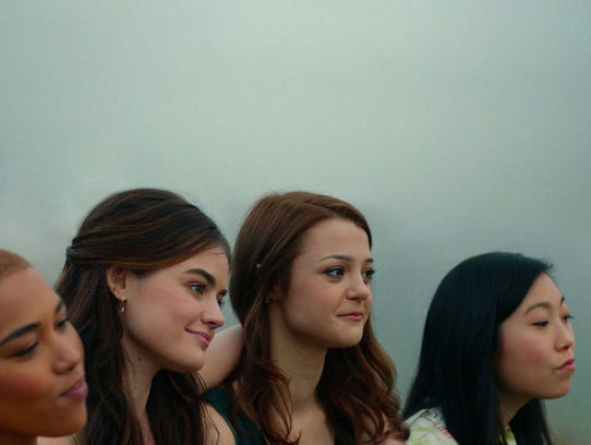 "Alexandra Ship (from left), Lucy Hale, Kathryn Prescott and Awkwafina navigate the end of high school in ""Dude."""