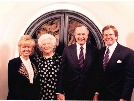 From left to right: Vicki Click, Barbara Bush, George
