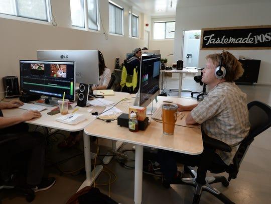 The video editing room at Tastemade studios in Santa