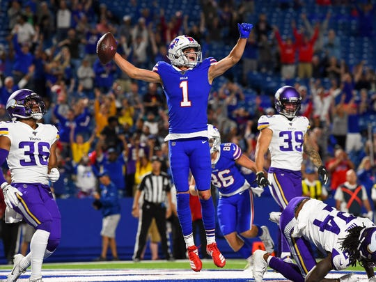 Aug 29, 2019; Orchard Park, NY, USA; Buffalo Bills wide receiver David Sills (1) reacts to his game winning touchdown catch against the Minnesota Vikings during the fourth quarter at New Era Field. Mandatory Credit: Rich Barnes-USA TODAY Sports