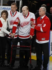 Former Red Wing Vladimir Konstantinov is introduced