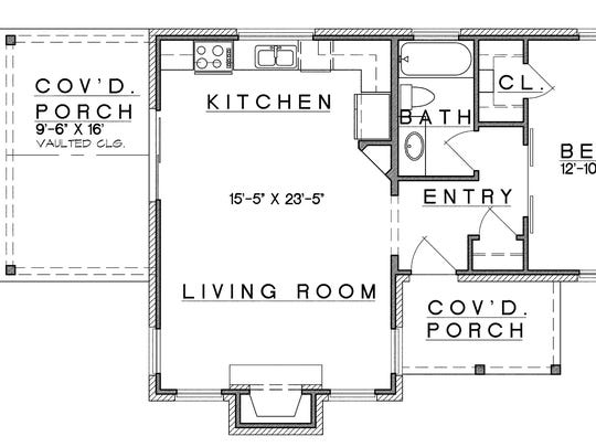 With open living space plus a bedroom and bathroom, this 808-square-foot layout makes a terrific tiny home or add-on unit.