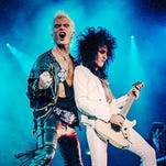 """Idol and Steve Stevens, photographed on the 1987 Whiplash Smile tourBilly Idol, left, performs with Steve Stevens on the 1987 Whiplash Smile tour. From the book """"Dancing with Myself"""" by Billy Idol."""