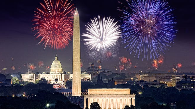 Fireworks on display over Washington, D.C.