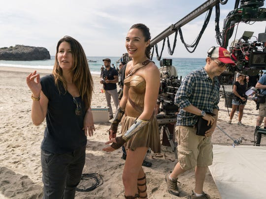 Patty Jenkins, left, directs Gal Gadot on the set of