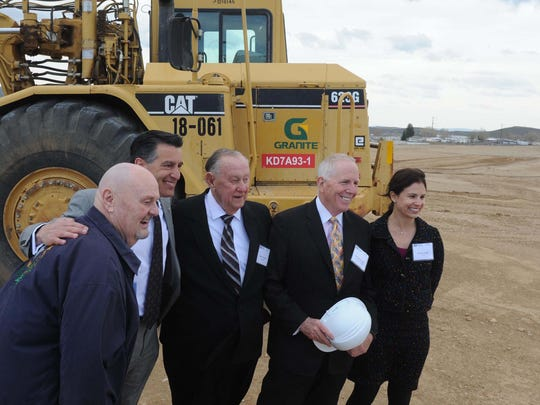 Sparks Mayor Geno Martini, left, Gov. Brian Sandoval, Reno Mayor Bob Cashell, Dermody Properties Chairman and CEO Michael Dermody and Melanie Gangel, vice president of PCCP, pose for a photo during the groundbreaking ceremony for LogistiCenter 395.