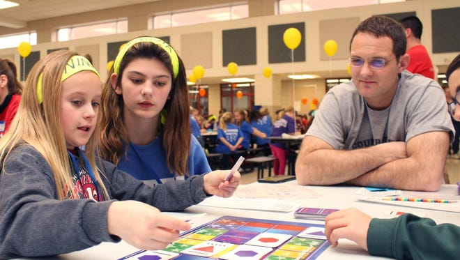 Highland Elementary School students Angelina Falloon, left, and Aleah Partyka take part in the Math Pentathlon.