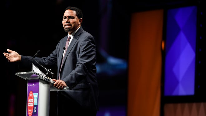 Secretary of Education Dr. John King Jr. speaks Tuesday during the National Charter Schools Conference at Music City Center in Nashville.