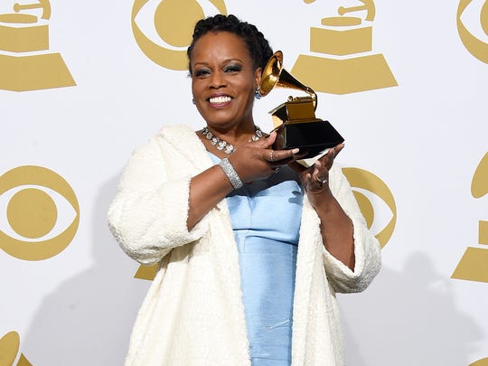 Singer Dianne Reeves, winner of Best Jazz Vocal Album for 'Beautiful Life,' poses in the press room during The 57th Annual Grammy Awards at the Staples Center in Los Angeles.