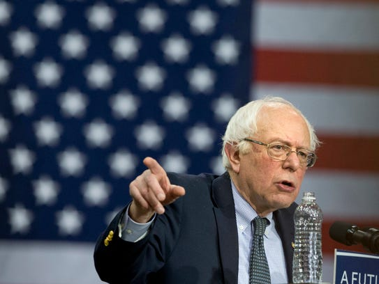 Sen. Bernie Sanders, I-Vt. speaks during a Democratic
