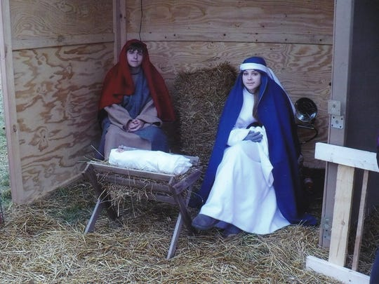 A living nativity scene is part of Christ Lutheran Church's annual Journey to Jesus event. Nathan Fosmer and Alexis Fosmer portray Joseph and Mary.