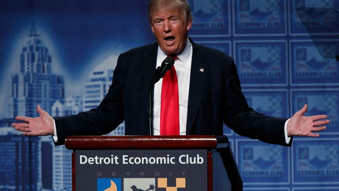 Republican presidential candidate Donald Trump delivers an economic policy speech to the Detroit Economic Club, Monday, Aug. 8, 2016, in Detroit. (AP Photo/Evan Vucci)