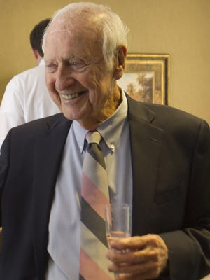 James Franklin  during his 90th birthday celebration in 2014 at Henderson, Franklin, Starnes & Holt, P.A.