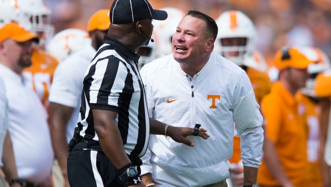 Tennessee Head Coach Butch Jones yells at a referee during a Tennessee vs. South Carolina game at Neyland Stadium in Knoxville, Tenn. Saturday, Oct. 14, 2017.