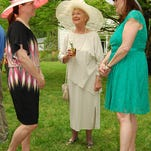 Christine Henning Sarah Kahmann and Rosanne Nields enjoyed the weather and company at Dinsmore Homestead's Derby party last year. This year the event is Saturday, May 3.