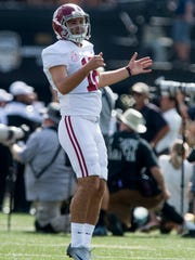 Alabama kicker Andy Pappanastos (12) warms up at Vanderbilt