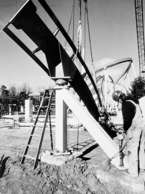 1990: Ron Ralidak of Margate bolts supports for the Shockwave ride at Six Flags Great Adventure.