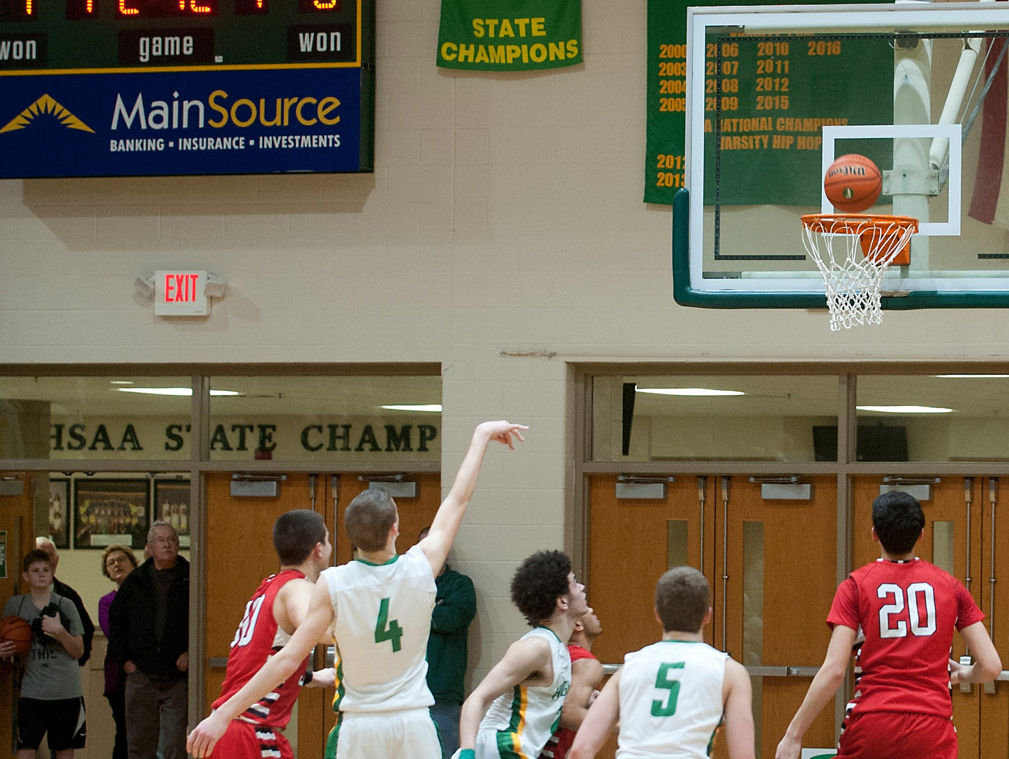 Floyd Central guard Matt Weimer makes a free-throw with 10.1 seconds left in overtime to even the score at 52 all. 11 February 2017