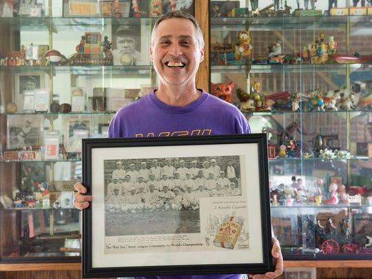 In addition to the items he sells in his Red Lion store, collector Jeff Jackson is shown here photographed with other items in his Dallastown home on Tuesday, May 31, 2016.