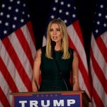 Ivanka Trump introduces her father, Republican presidential hopeful Donald J. Trump, during a campaign event at the Aston Township Community Center on September 13, 2016 in Aston, Penn.