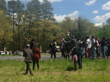 Students line up on Route 13 near Princess Anne.