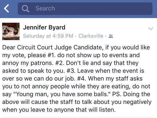 Screenshot of Facebook post from Jennifer Byard.