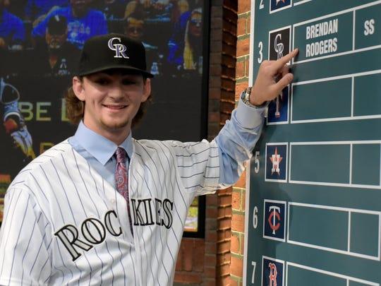 Brendan Rodgers at the 2015 MLB Draft.  (AP Photo/Bill Kostroun)