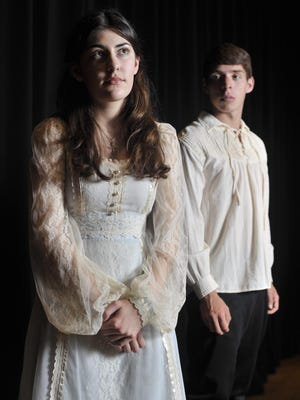 "Sophie Miller (Juliet) and Hector Delgadillo (Romero) star in Tulare Union High School production of ""Romeo and Juliet."""