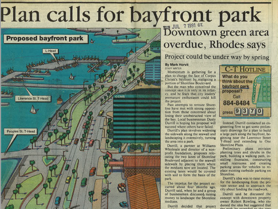 A bayfront park design plan was developed by Dusty