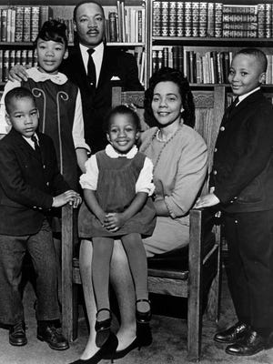 FILE - This 1966 file photo is the last official portrait taken of the entire King family, made in the study of Ebenezer Baptist Church in Atlanta. From left are Dexter King, Yolanda King, Martin Luther King Jr., Bernice King, Coretta Scott King and Martin Luther King III.  A judge in Atlanta is set to hear motions Tuesday in the legal dispute that pits Martin Luther King Jr.'s two sons against his daughter Bernice in a dispute over two of his most cherished items.(AP Photo/Atlanta Journal-Constitution, File)