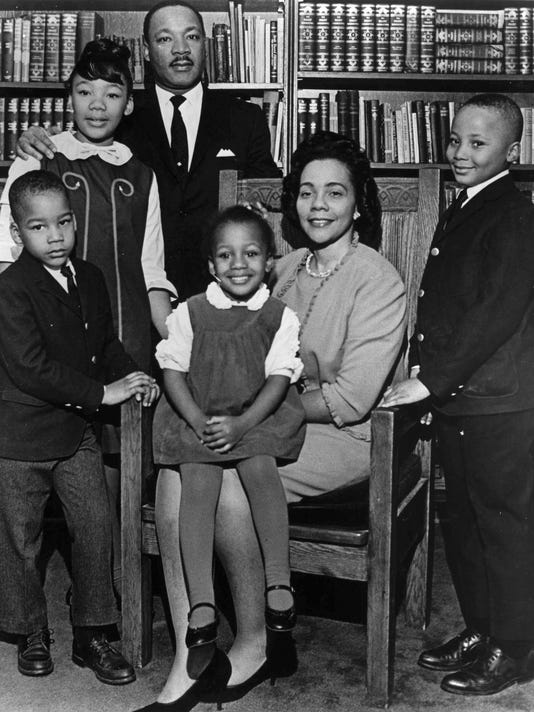 Dexter King, Yolanda King, Martin Luther King Jr., Bernice King, Corett Scott King, Martin King III