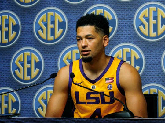 LSU player Skylar Mays speaks during the SEC men's NCAA college basketball media day, Wednesday, Oct. 17, 2018, in Birmingham, Ala. (AP Photo/Butch Dill)