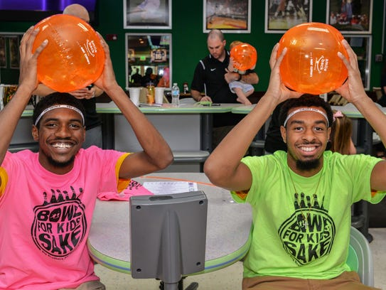 IRSC Basketball Team's Anthony Brown and Damian Winston