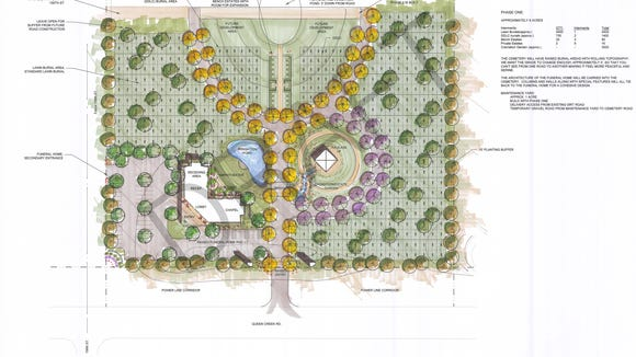 Phase 1 conceptual site plan draft of a cemetery in the town of Gilbert.