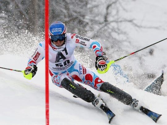 Thomas Mermillod-Blondin of France competes during the Audi FIS Alpine Ski World CupMen's Slalom on January 24, 2014 in Kitzbuehel, Austria.