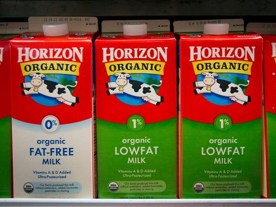 Cartons of WhiteWave Foods Co. Horizon Organic milk,