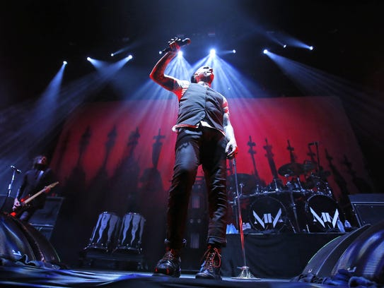 Marilyn Manson performs after a weather delay Saturday,