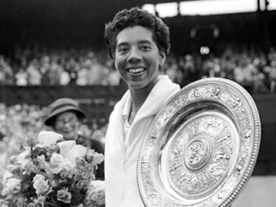 Althea Gibson broke the color barrier and won.