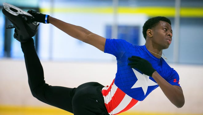 Glasgow High senior Emmanuel Savary practices at the Gold Arena Ice Skating Rink in Newark. His routine has been classes at Glasgow from 7 a.m. to 11 a.m., then five and a half hours of training as an ice skater. He was ranked 13th nationally in the senior division at the 2016 U.S. championships.