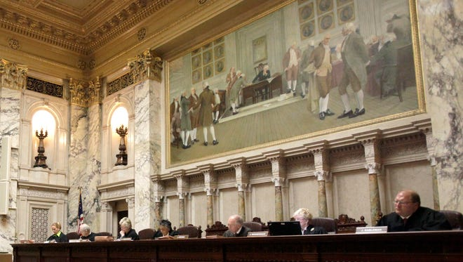 The Wisconsin Supreme Court hears a case at the state Capitol in Madison.