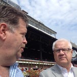 Trainer Dale Romans and Jerry Crawford, head of the Donegal Racing partnership that campaigns Travers winner Keen Ice, met with the media Sunday in Saratoga's winner's circle.