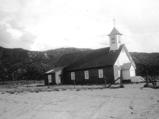 The Rosa Church, pictured in 1961, was an anchor of the community of Rosa, one of three villages flooded when the Navajo Dam was constructed.