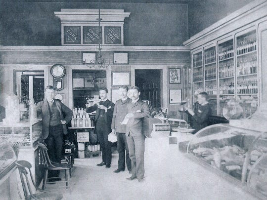 Luther Harpel, far left, stands with his fellow pharmacists in Lemberger's  Drug Store at 7-11 N. Ninth St. in Lebanon. Harpel graduated from the Philadelphia College of Pharmacy on April 17, 1890.