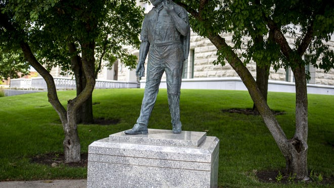 """Illinois Speaker of the House Michael Madigan, D-Chicago, has called for the Martin Luther King Jr. statue, which is now located on the corner of 2nd Street across from the Illinois State Capitol, to be moved """"to a location of more prominence and honor"""" in a statement issued on Thursday, July 9, 2020, in Springfield, Ill. The board of the Office of the Architect of the Capitol decided during a meeting on Wednesday, August 19th, that the statue should be moved onto the Capitol grounds. [Justin L. Fowler/The State Journal-Register]"""