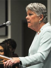 U.S. Rep. Julia Brownley speaks at a student town hall meeting Saturday morning at the Ventura County Office of Education in Camarillo last month. The subject of the town hall was gun violence and students asked questions about the law and what they can do to help make change.
